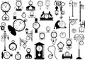 Clocks and watches collection of vector black white Stock Photos