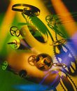 Clockwork cogs and springs in colored light Stock Images