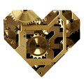 Clockwork heart digital illustration of a shape with mechanism on a white background Royalty Free Stock Image