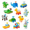 Clockwork toy key vector mechanic playroom toyshop mechanism for kids animal clock work car, train, robot illustration Royalty Free Stock Photo