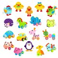 Clockwork toy key vector mechanism mechanic playroom toyshop for kids animal clock work horse, duck, robot, car Royalty Free Stock Photo
