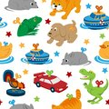 Clockwork toys with key vector seamless pattern. Mechanic toys for baby with mechanism for kids. Animal clock work cat Royalty Free Stock Photo