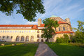Cloister and very old Romanesque church Royalty Free Stock Photo