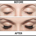 Close beautiful eyes with natural eyelashes to and false eyelashes after Royalty Free Stock Photos