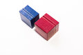 Close blue and red gift box Royalty Free Stock Photo