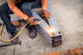 Close hand man arc welding or stick welding Royalty Free Stock Photo