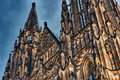 Close HDR view on gothic St. Vitus cathedral in Prague Castle Royalty Free Stock Image