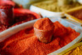 Close Of Powdered Cayenne Or Red Hot Chili Pepper On Sale At East Market Royalty Free Stock Photo