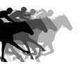 Close race editable vector silhouettes of a very horse Stock Photography