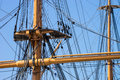 Close rigging a up of a mast and at portsmouth Stock Image