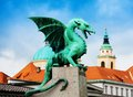Close shot of the dragon statue in ljubljana on famous bridge Royalty Free Stock Image
