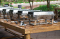 Close tray breakfast buffet in graden Royalty Free Stock Photo