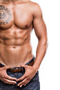 Close up of the abdominal muscles young athlete over white background Royalty Free Stock Images
