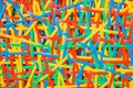 Close up abstract image or texture of colorful plastic weave. Royalty Free Stock Photo