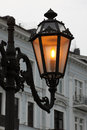 Close up alight street lamp odessa ukraine Royalty Free Stock Photos