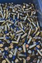 A close up of a ammo case full of bullets Royalty Free Stock Photo
