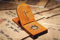 Close-up of ancient chinese sundial Royalty Free Stock Images