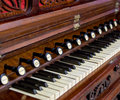 Close-up of antique reed organ harmonium