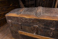 Close Up of Antique Treasure Chest on Deck of Ship Royalty Free Stock Photo
