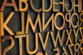 Close up of antique wood letter press alphabet Royalty Free Stock Images