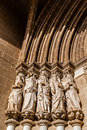 Close-up on the Apostles statues placed on the left side of the Evora Cathedral Portal in Portugal. Royalty Free Stock Photo