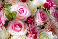 Close up of artificial flowers bouquet arrange for decoration in home Royalty Free Stock Photo