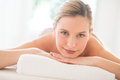 Close up of attractive woman relaxing at spa portrait young health Royalty Free Stock Images