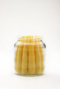 Close up baby corn in bottle. Stock Image
