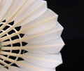 A close up of badminton in black background reflection Stock Photo