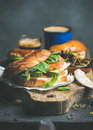 Close-up of bagel with salmon, cream cheese and vebegables Royalty Free Stock Photo