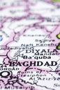 Close up of Baghdad on map, Iraq Royalty Free Stock Image