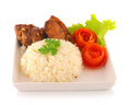 Close up of barbecued pork rice in a bowl Royalty Free Stock Image