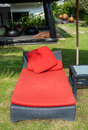 Close up beach red chair bed near the swimming pool Stock Photography