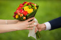 Close up of beautiful bouquet of fresh flowers. man and woman hands. happy bride, groom over summer green park background. Royalty Free Stock Photo