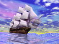 Close up of a beautiful detailed old merchant ship on the ocean by cloudy day Stock Photos