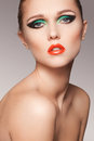 Close-up beautiful model face with fashion make-up Royalty Free Stock Photo