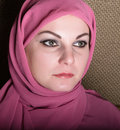 Close-up beautiful mysterious eyes eastern woman wearing a hijab Royalty Free Stock Photo