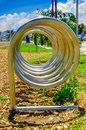 Close up of beautiful outdoor metallic spiral structure view of new boulevar in mainstreet in Amazonas avenue, in the Royalty Free Stock Photo