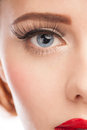 Close up beautiful woman blue eye long lashes bright makeup Royalty Free Stock Image