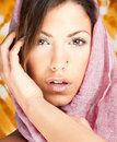 Close up Beautiful woman with pink scarf posing Stock Images