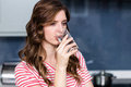 Close-up of beautiful young woman drinking water Royalty Free Stock Photo