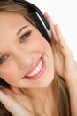 Close-up of a beauty listening to music Stock Image