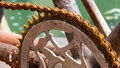Close up bicycle and rusty chain Stock Photos