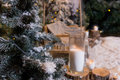 Close up of big candles in glass vases near fir-tree in a snow-c Royalty Free Stock Photo