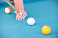 Close up billiards game pool table Stock Photography
