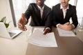 Close up of black businessman offering job, employment agreement