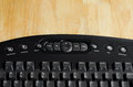 Close up black keyboard button of on wood table Stock Image