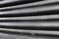 Close up of black plastic pipes with diminishing perspective Royalty Free Stock Photo