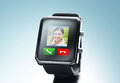 Close up of black smart watch with video call icon Royalty Free Stock Photo