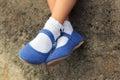 Close up of blue denim ballerinas Royalty Free Stock Photo